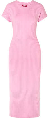 DAY Birger et Mikkelsen STAUD - Janice Ribbed-knit Midi Dress - Baby pink