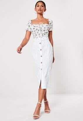 Missguided White Belt Detail Button Through Midi Skirt