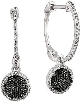Black Diamond FINE JEWELRY 1/2 CT. T.W. White and Color-Enhanced Sterling Silver Hoop Earrings