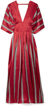 Roksanda Mihara Pleated Striped Silk-satin Midi Dress - Red