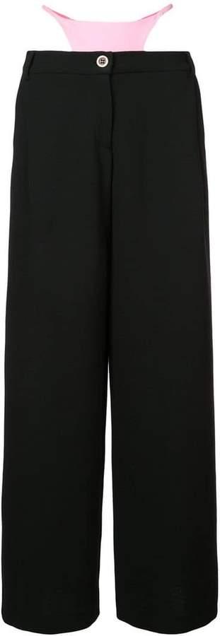 wide leg knicker detail trousers