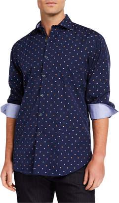 Bugatchi Men's Square-Print Classic-Fit Sport Shirt