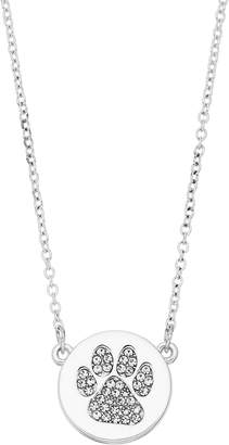Pet Friends Simulated Crystal Dog Paw Disc Pendant Necklace