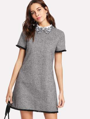 Shein Embroidered Collar Fringe Lace Trim Houndstooth Dress