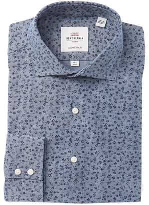 Ben Sherman Navy Floral Printed Royal Oxford Tailored Slim Fit Dress Shirt