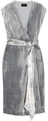 J.Crew Frida Velvet Wrap Dress - Silver