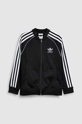 Next Girls adidas Originals Black 3 Stripe Track Top