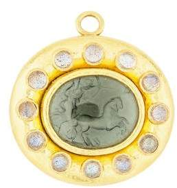 Elizabeth Locke 18K Mother of Pearl Intaglio & Labradorite Pendant Brooch