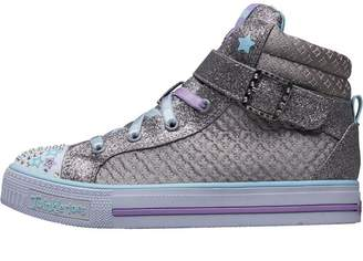 Skechers Girls Quilted Diamonte Buckle Twinkle Toes Hi Tops Silver