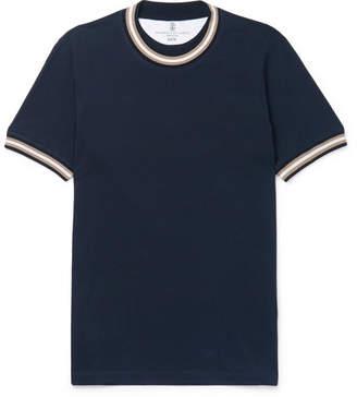Brunello Cucinelli Slim-Fit Stripe-Trimmed Cotton-Jersey T-Shirt