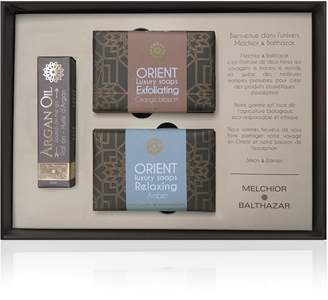 Melchior & Balthazar - Passion Gift Box (Argan Oil Roll-On, Exfoliating Orange Blossom & Relaxing Amber Creamy Soaps)