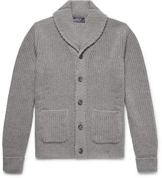 Ralph Lauren Purple Label Shawl-Collar Ribbed Cashmere Cardigan
