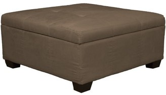 Comfort Style Timeless 36-Inch Large Square Tufted Padded Hinged Storage Ottoman Bench, Suede Mocha Brown
