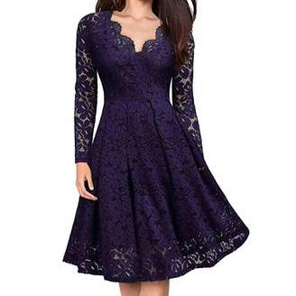 Emerayo Women's Solid Color Sexy Lace Round Neck Short Sleeve Dress Party Cocktail Party Wedding Formal Skirt Mini Skirt