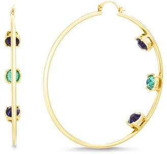 Steve Madden Round-Cut Rhinestone 75mm Hoop Earrings