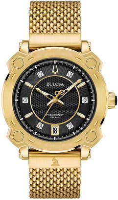 Bulova Women's Precisionist Grammy Diamond-Accent Gold-Tone Stainless Steel Bracelet Watch 38mm