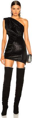 ATTICO Vera One Shoulder Velvet Mini Dress