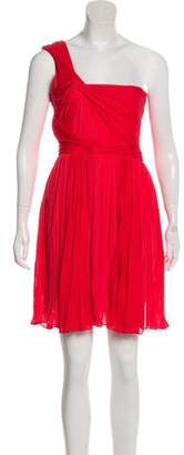 Halston One-Shoulder Pleated Dress w/ Tags