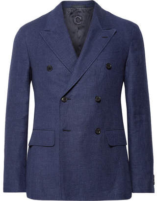 Caruso Navy Slim-Fit Double-Breasted Wool And Linen-Blend Hopsack Blazer