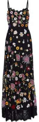Alice + Olivia Alice+olivia Embellished Lace-Trimmed Tulle Maxi Drress