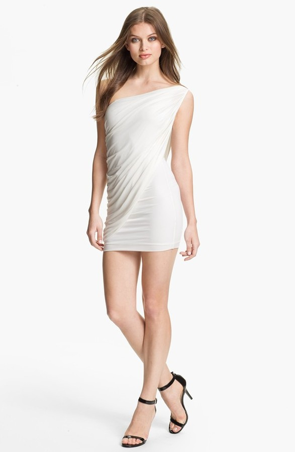 BCBGMAXAZRIA Draped One Shoulder Jersey Minidress