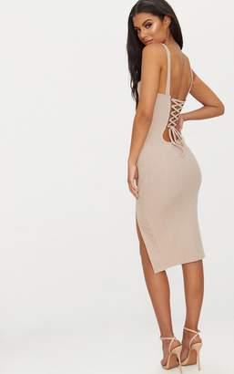 PrettyLittleThing Stone Bandage Lace Up Back Midi Dress