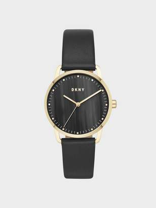 DKNY Greenpoint 36mm Gold-Tone Stainless-Steel Watch With Leather Strap