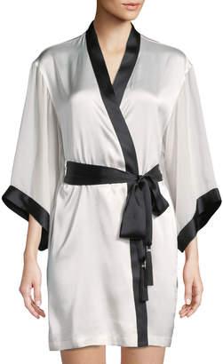 Josie Natori Sleek Contrast Trim Silk-Blend Short Robe