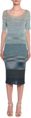 Missoni Half-Sleeve Colorblocked Midi Dress