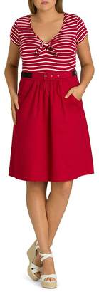 City Chic Plus Cute Tie-Front Fit-and-Flare Dress