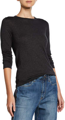 Brunello Cucinelli Crewneck Long-Sleeve Cashmere-Blend Knit Pullover