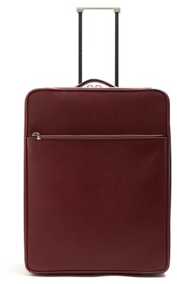 Valextra Leather Cabin Suitcase - Mens - Burgundy