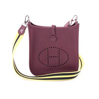 Hermes Evelyne Burgundy Leather Handbag