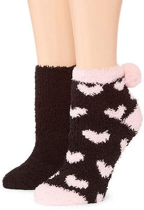 Asstd National Brand Snuggle Feet 2 Pair Low Cut Socks - Womens