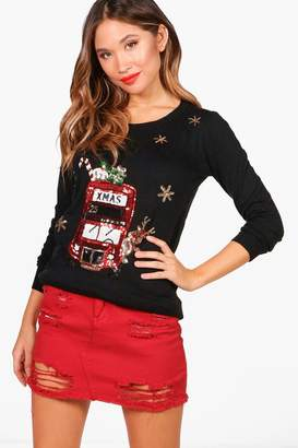 boohoo London Bus Sequin Christmas Jumper