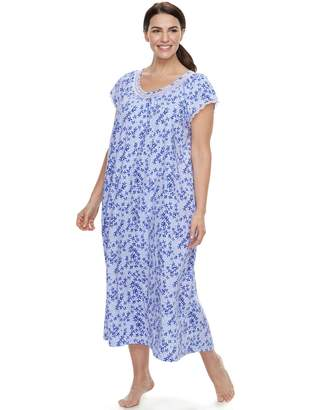 Croft & Barrow Plus Size Printed Lace Trim Nightgown