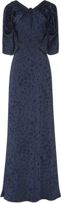 Zac Posen Novelty Satin Back Crepe Printed Draped Gown