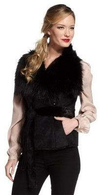 Rachel Zoe Luxe Faux Shearling Belted Vest with Collar