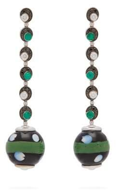 Francesca Villa Emerald, Diamond & 18kt White Gold Drop Earrings - Womens - Green