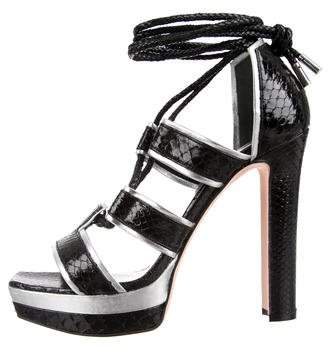 Alexander McQueen Python Lace-Up Sandals