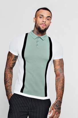 boohoo Colour Block Short Sleeve Knitted Polo