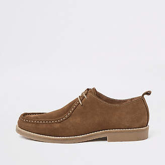 River Island Dark brown suede moccasin shoes