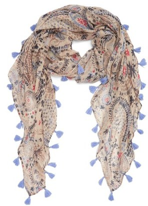 Women's Hinge Embroidered Fringe Scarf $39 thestylecure.com