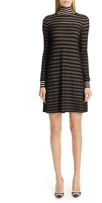 Fendi Striped Silk Stretch Lace Turtleneck Dress
