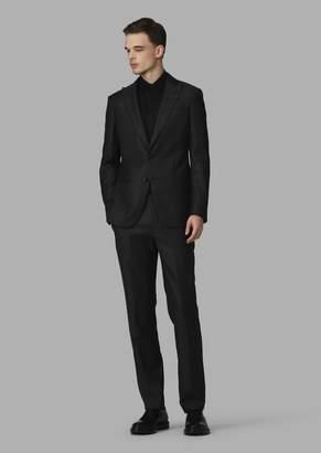 Giorgio Armani Slim-Fit Half-Canvas Microcheck Twill Soho Suit