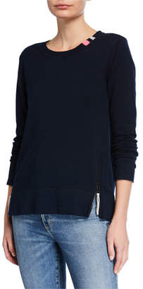 LISA TODD Zip It Cotton/Cashmere Long-Sleeve Sweater w/ Contrast Zip Detail