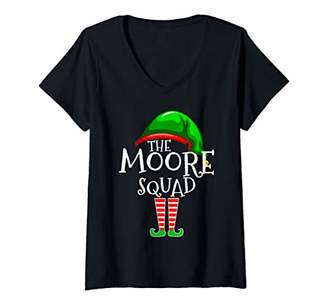 Womens Moore Squad Elf Group Matching Family Name Christmas Gift V-Neck T-Shirt
