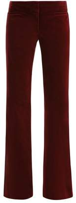 Nili Lotan Mid Rise Flared Velvet Trousers - Womens - Burgundy