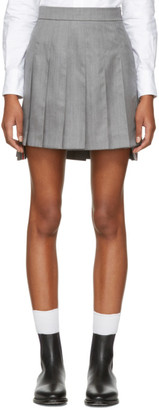 Thom Browne Grey Dropped Back Pleated Miniskirt $1,150 thestylecure.com