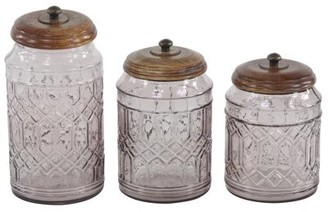 clear DecMode Decmode Farmhouse 8, 9 And 11 Inch Round Textured Glass Canisters With Brown Wood And Metal Lid - Set Of 3
